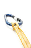Climbing equipment -  Lock with prusic 2 knot Royalty Free Stock Images