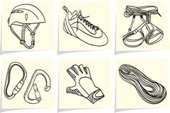 Climbing equipment on memo sticks Royalty Free Stock Photos