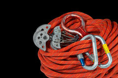 Climbing Equipment On Black Background Royalty Free Stock Photography