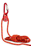 Climbing equipment - pulley, rope, carabiner. Placed on a white stock photo