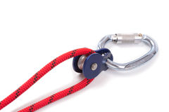 Climbing equipment - pulley, rope, carabiner Stock Image