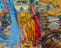Climbing equipment rack gear, hardware. Royalty Free Stock Images