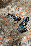 Climbing equipment on the rock Stock Photos