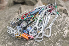 Climbing equipment on a rock Royalty Free Stock Photos