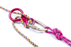 Climbing equipment - rope, carabiner, figure eight Royalty Free Stock Image