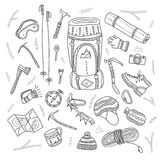 Climbing equipment set in ethnic ornate boho style. Royalty Free Stock Photography