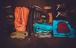 Climbing equipment set Stock Photo
