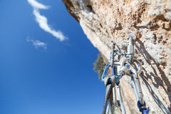 Climbing equipment on the top of the walls overlooking the valle Stock Photo