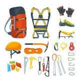 Climbing equipment, vector icons and design elements set. Mountaineering extreme sport gears and accessories. Cartoon style illustration Royalty Free Stock Images