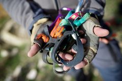 Climbing equipment view Royalty Free Stock Photos
