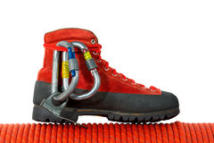 Climbing Equipment on White Background Stock Photo