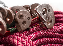 Climbing equipment - winded rope with cam. Stock Photo