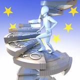 Climbing the Euro stairs. Figure on euro coin stairs 2 -  figure climbing up winding stairs made of a one euro coin, 3d rendering, european union flag, logo Stock Photo