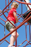 Climbing exercise for child girl Royalty Free Stock Image