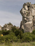 Climbing exercise on groups of rocks in the Jura Cracow Czestoch Stock Photography