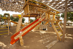 Climbing frame in a childrens play area Stock Photos