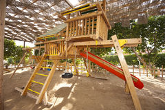 Climbing frame in a childrens play area Stock Photography
