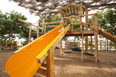 Climbing frame in a childrens play area Royalty Free Stock Images
