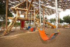 Climbing frame in a childrens play area Stock Photo