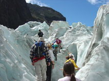 Climbing Franz Joseph Glacier. Southern Alps, South Island, New Zealand Royalty Free Stock Photos