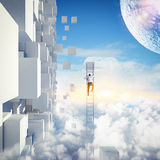 Climbing the future. Businessman with a ladder on the sky Royalty Free Stock Image