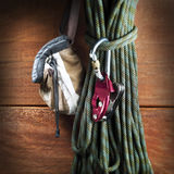 Climbing gear. Composition made by climbing rope and gears Stock Photography
