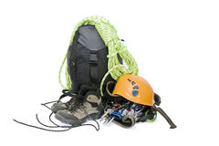 Climbing gear. Some gear for climbing isolated on white Royalty Free Stock Photo