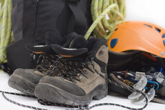 Climbing gear. Some gear for climbing isolated on white Stock Photography