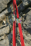Climbing Gear. Climbing Slings and Karabiners under tension Royalty Free Stock Photos