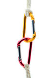 Climbing gear against white background Royalty Free Stock Photo