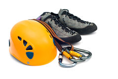 Climbing gear - carabiners, helmet, rope, shoes Royalty Free Stock Photography