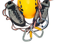 Climbing gear - carabiners, helmet, rope, shoes Royalty Free Stock Image