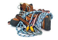 Climbing gear - carabiners, ropes and boots Stock Photos