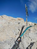 Climbing gear on the cyprus limestone Stock Images