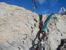 Climbing gear on the cyprus limestone Royalty Free Stock Photo