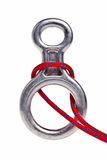 Climbing gear equipment. Climbing gear tool  and red rope isolated over whitebackground Royalty Free Stock Photos