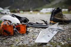 Climbing gear and equipment for a mountaineer stock images
