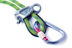 Climbing gear isolated on the white background. Climbing sport c. Oncept stock photos