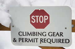 Climbing Gear and Permit Required Sign Stock Photography