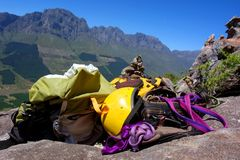 Climbing gear on rocks Stock Images