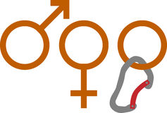 Climbing gender. Vector illustration of gender sign suggesting three genders : male, female and climbing Stock Photo