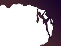 Climbing girl silhouette. Vector illustration of a climbing girl silhouette. Bouldering. Poster Royalty Free Stock Image