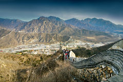 Climbing the Great Wall of China Royalty Free Stock Image