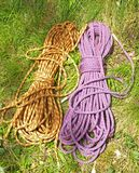 Climbing half ropes. A pair of climbing half ropes. Half ropes are allways used in pairs Royalty Free Stock Images