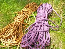 Climbing half ropes. A pair of climbing half ropes. Half ropes are allways used in pairs Royalty Free Stock Photo