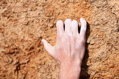 Climbing hand closeup Stock Photo