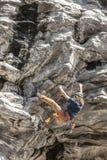 Climbing a hard route. Royalty Free Stock Photos