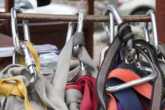 Climbing harness and hooks Royalty Free Stock Images