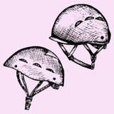 Climbing helmet. Set climbing helmet doodle style sketch illustration hand drawn vector Royalty Free Stock Photos