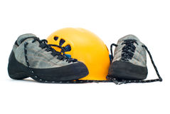 Climbing helmet and shoes Stock Photo